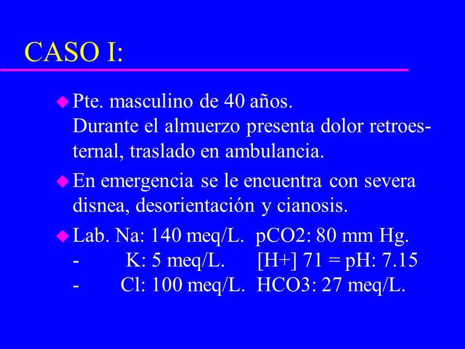 CASO I: u Pte. masculino de 40 años. Durante el almuerzo presenta dolor retroes- ternal, traslado en ambulancia. u En emergencia se le encuentra con s