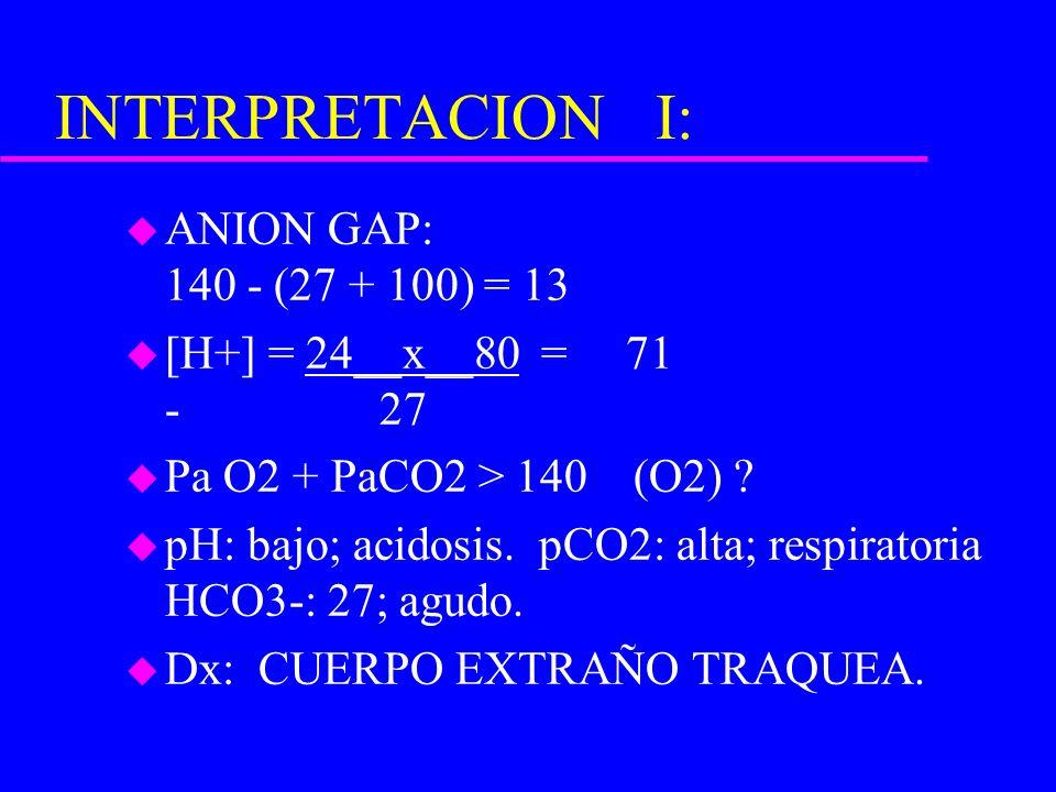 INTERPRETACION I: u ANION GAP: 140 - (27 + 100) = 13 u [H+] = 24__x__80 = 71 - 27 u Pa O2 + PaCO2 > 140 (O2) ? u pH: bajo; acidosis. pCO2: alta; respi