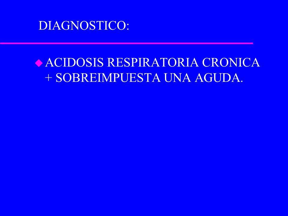 u ACIDOSIS RESPIRATORIA CRONICA + SOBREIMPUESTA UNA AGUDA. DIAGNOSTICO: