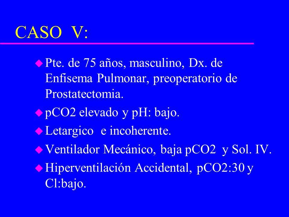 CASO V: u Pte. de 75 años, masculino, Dx. de Enfisema Pulmonar, preoperatorio de Prostatectomia. u pCO2 elevado y pH: bajo. u Letargico e incoherente.