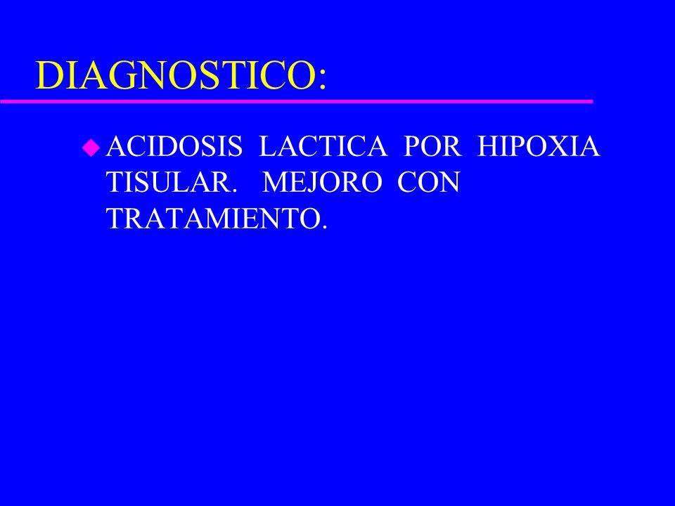 DIAGNOSTICO: u ACIDOSIS LACTICA POR HIPOXIA TISULAR. MEJORO CON TRATAMIENTO.