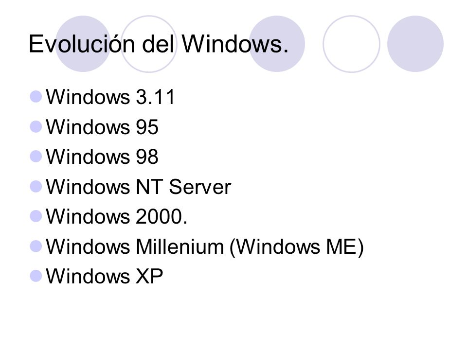 Evolución del Windows. Windows 3.11 Windows 95 Windows 98 Windows NT Server Windows 2000. Windows Millenium (Windows ME) Windows XP