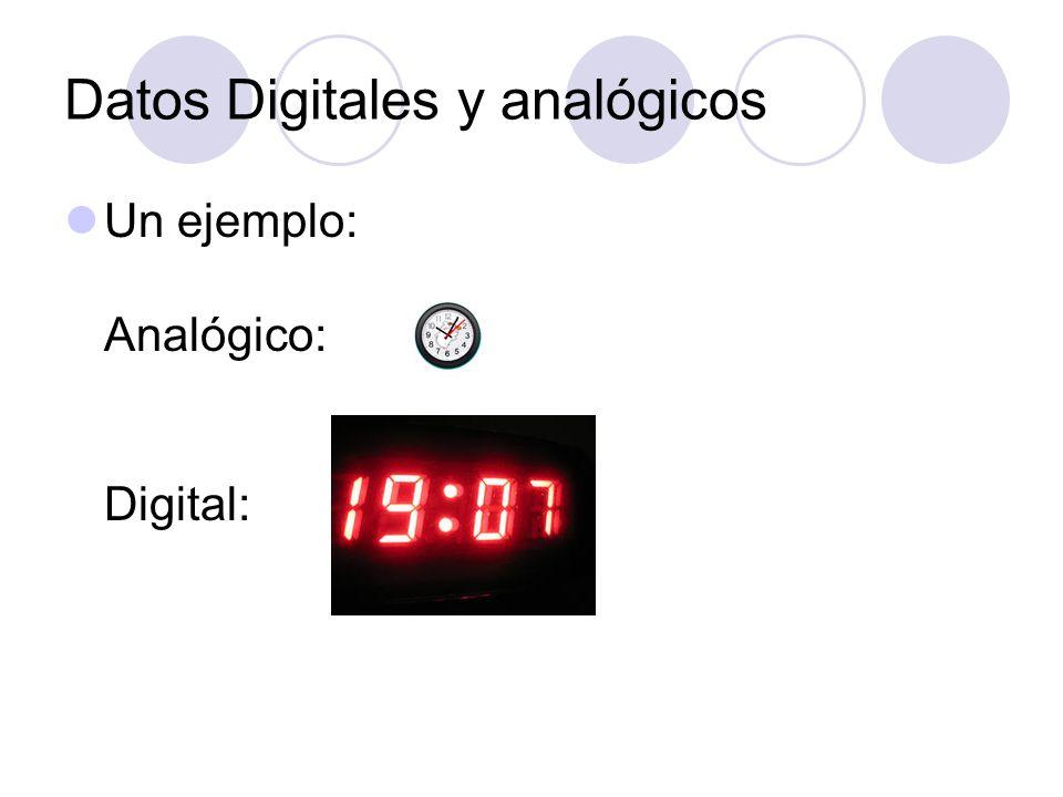 Datos Digitales y analógicos Un ejemplo: Analógico: Digital: