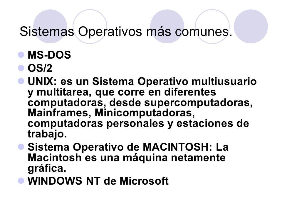 Sistemas Operativos más comunes. MS-DOS OS/2 UNIX: es un Sistema Operativo multiusuario y multitarea, que corre en diferentes computadoras, desde supe