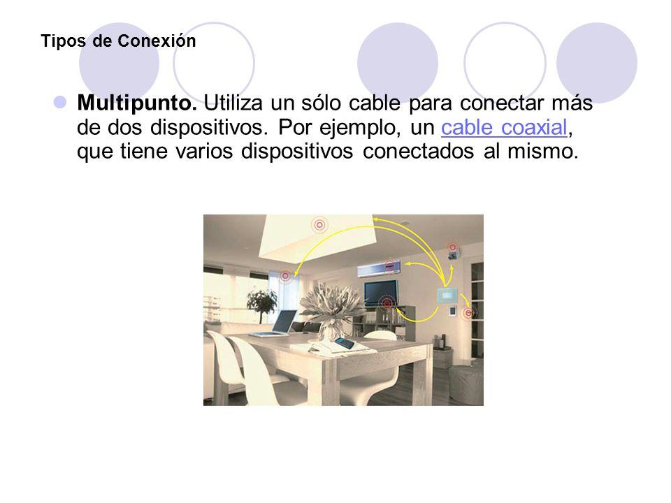 Tipos de Conexión Multipunto. Utiliza un sólo cable para conectar más de dos dispositivos. Por ejemplo, un cable coaxial, que tiene varios dispositivo
