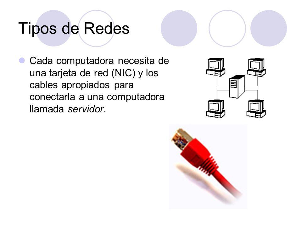 Cada computadora necesita de una tarjeta de red (NIC) y los cables apropiados para conectarla a una computadora llamada servidor. Tipos de Redes