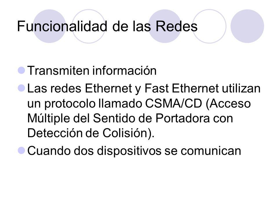 Funcionalidad de las Redes Transmiten información Las redes Ethernet y Fast Ethernet utilizan un protocolo llamado CSMA/CD (Acceso Múltiple del Sentid