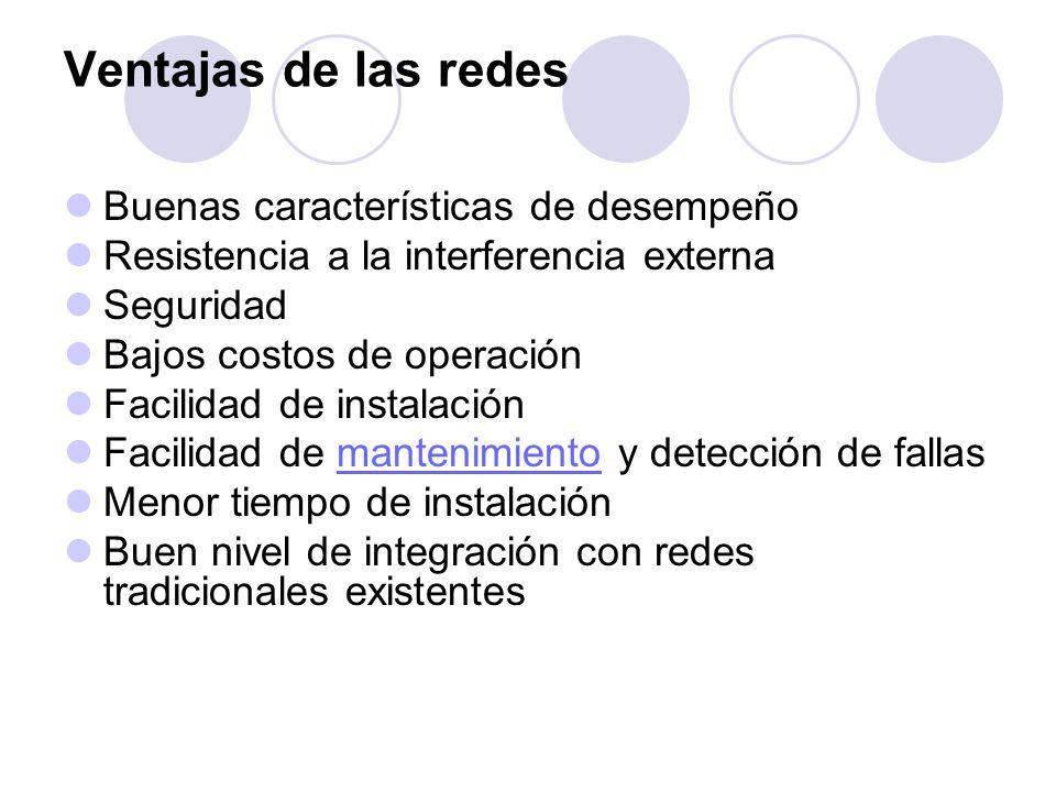 Ventajas de las redes Buenas características de desempeño Resistencia a la interferencia externa Seguridad Bajos costos de operación Facilidad de inst