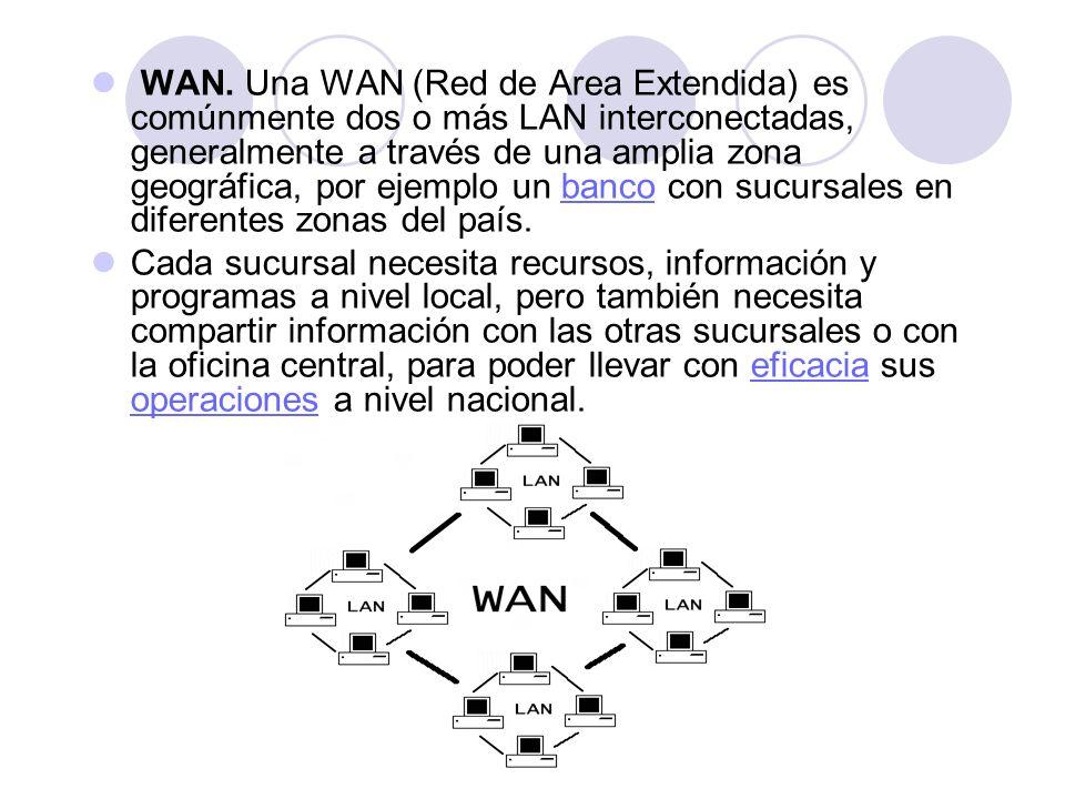 WAN. Una WAN (Red de Area Extendida) es comúnmente dos o más LAN interconectadas, generalmente a través de una amplia zona geográfica, por ejemplo un