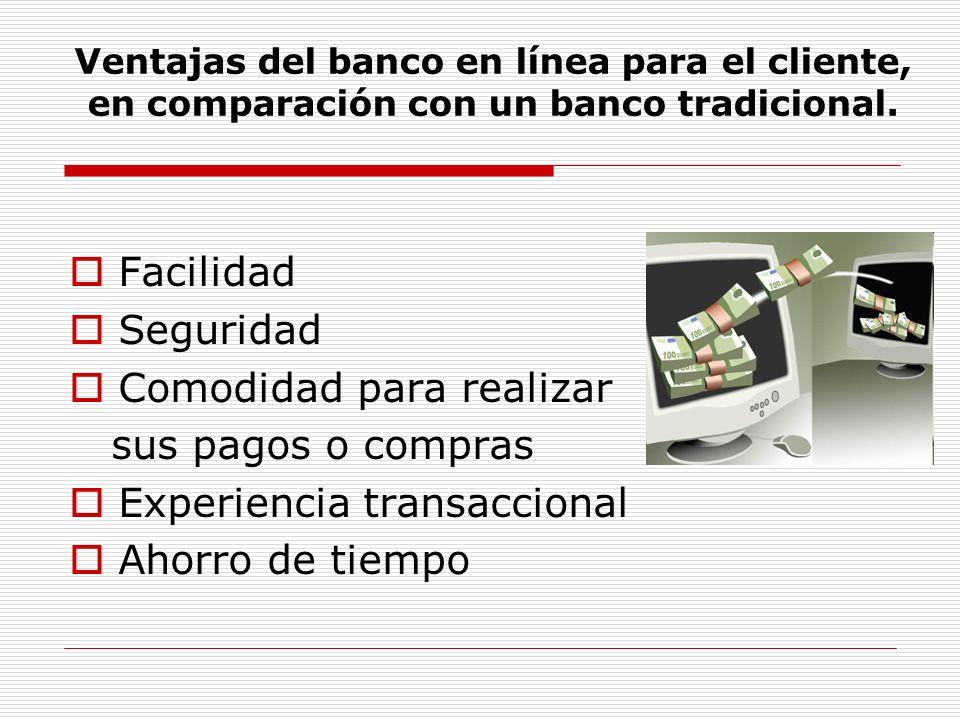 Ventajas del banco en línea para el cliente, en comparación con un banco tradicional.