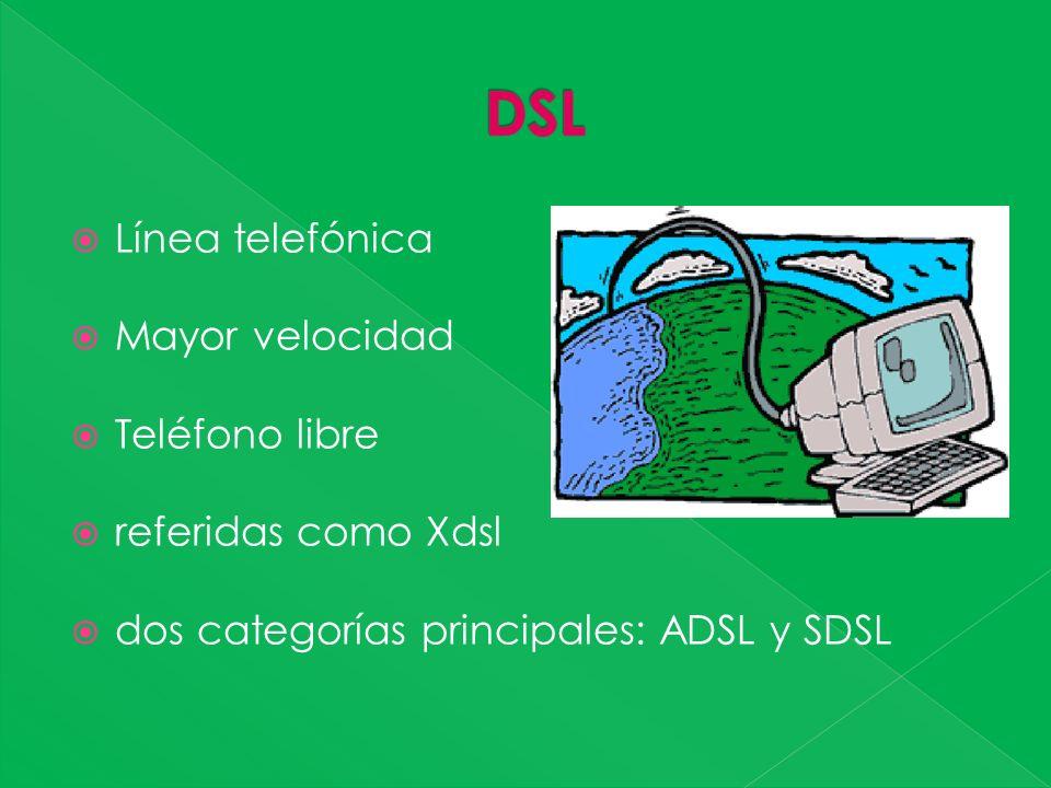 Línea telefónica Mayor velocidad Teléfono libre referidas como Xdsl dos categorías principales: ADSL y SDSL
