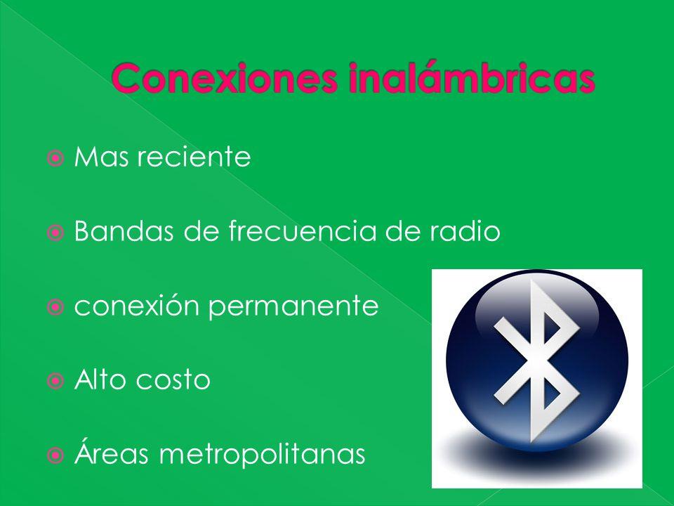 Mas reciente Bandas de frecuencia de radio conexión permanente Alto costo Áreas metropolitanas