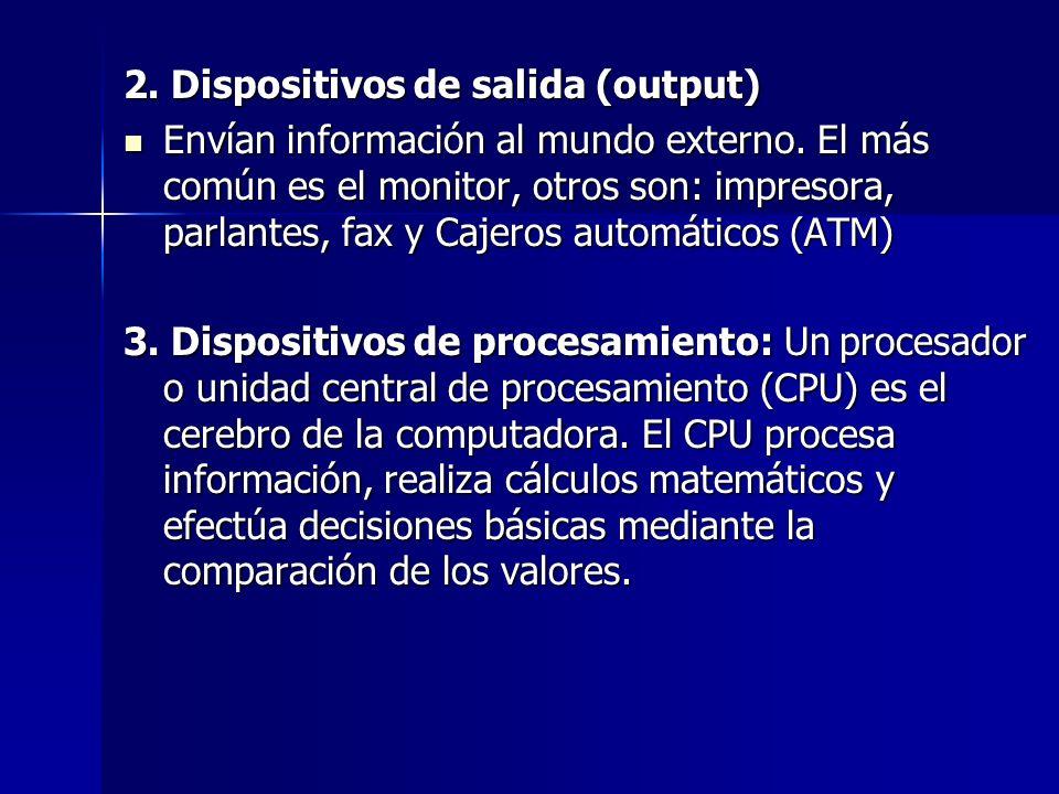 2. Dispositivos de salida (output) Envían información al mundo externo.