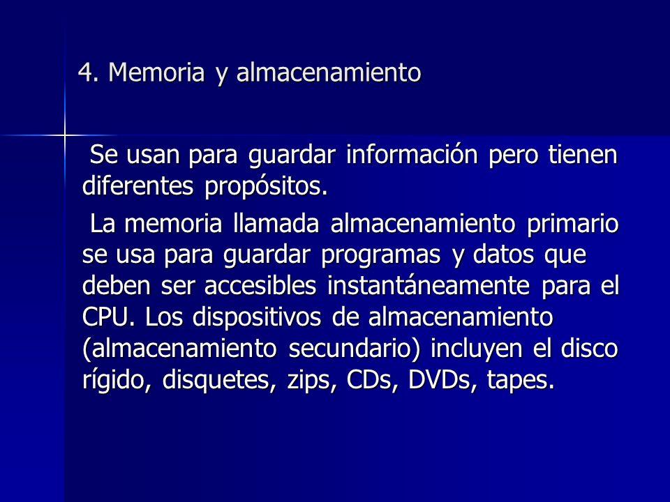 4. Memoria y almacenamiento Se usan para guardar información pero tienen diferentes propósitos.