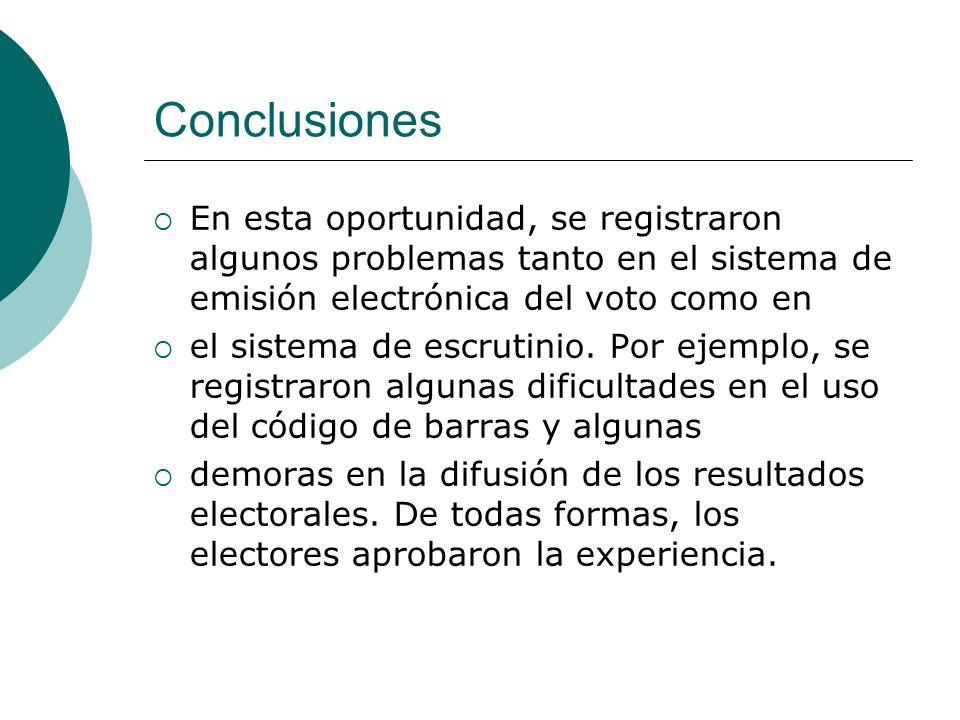 Conclusiones En esta oportunidad, se registraron algunos problemas tanto en el sistema de emisión electrónica del voto como en el sistema de escrutini
