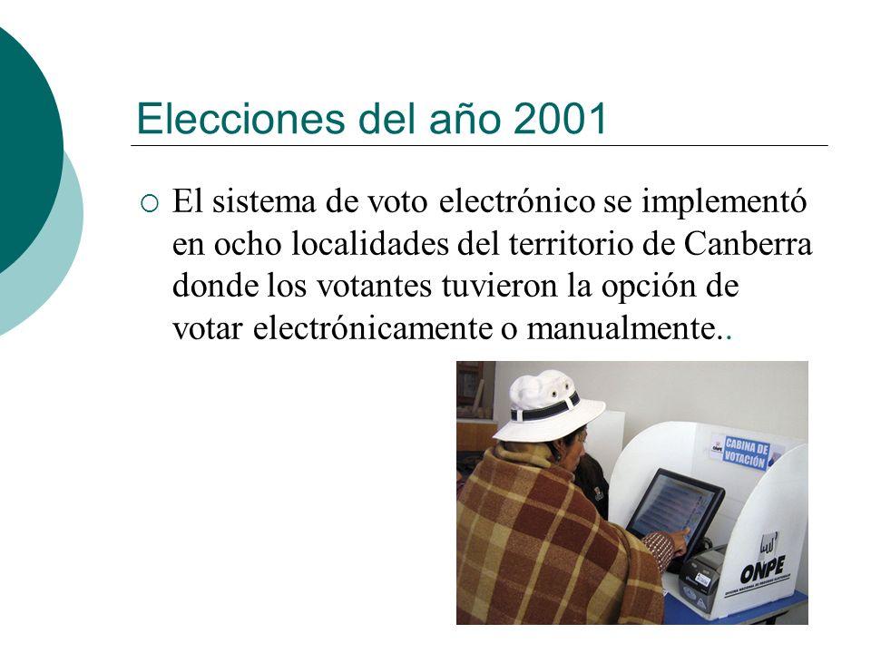 Elecciones del año 2001 El sistema de voto electrónico se implementó en ocho localidades del territorio de Canberra donde los votantes tuvieron la opción de votar electrónicamente o manualmente..
