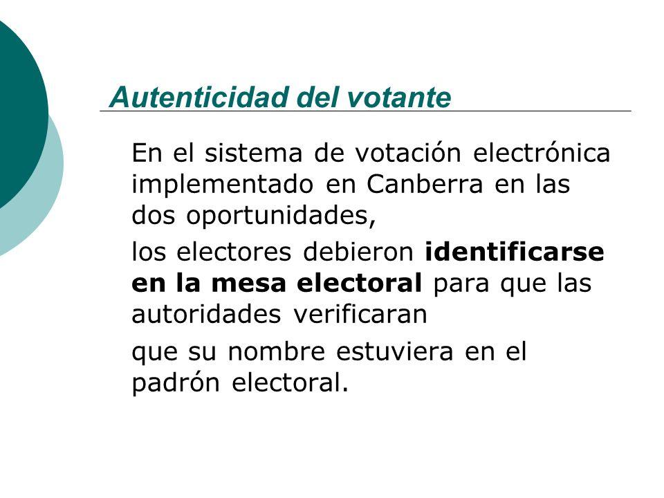 Autenticidad del votante En el sistema de votación electrónica implementado en Canberra en las dos oportunidades, los electores debieron identificarse en la mesa electoral para que las autoridades verificaran que su nombre estuviera en el padrón electoral.