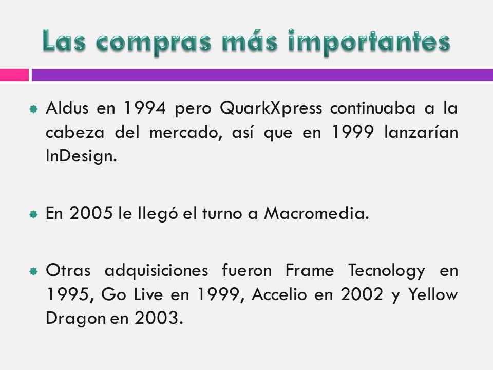 Aldus en 1994 pero QuarkXpress continuaba a la cabeza del mercado, así que en 1999 lanzarían InDesign. En 2005 le llegó el turno a Macromedia. Otras a