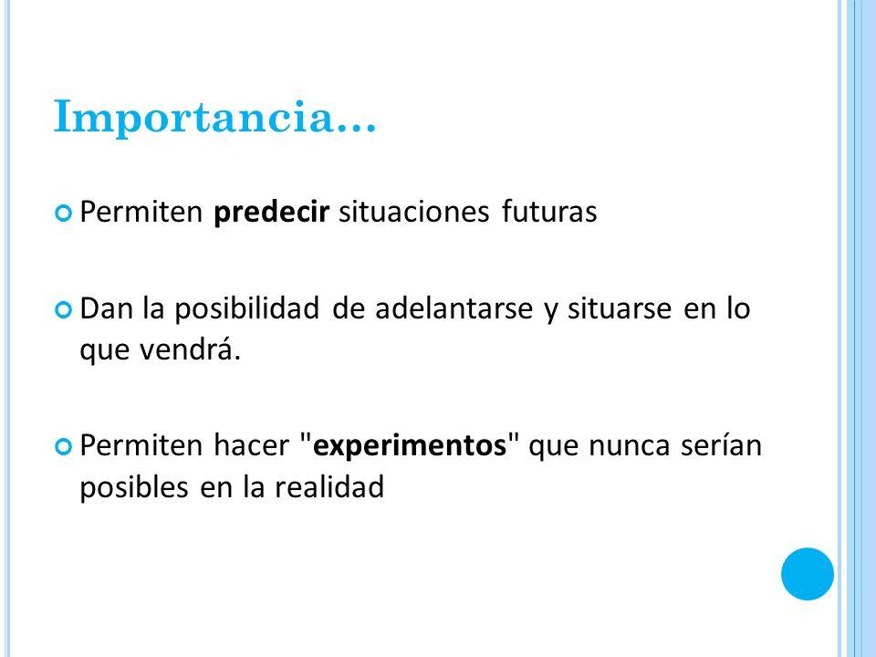 Importancia… Permiten predecir situaciones futuras Dan la posibilidad de adelantarse y situarse en lo que vendrá. Permiten hacer