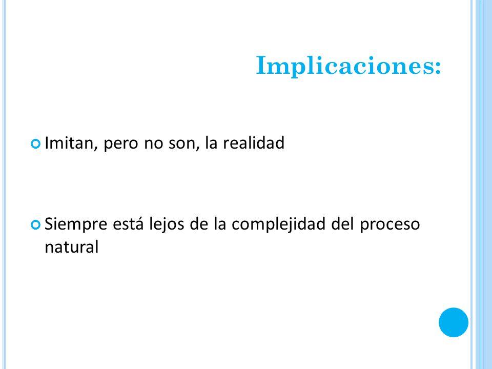 Implicaciones: Imitan, pero no son, la realidad Siempre está lejos de la complejidad del proceso natural