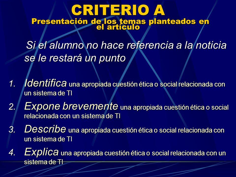 CRITERIO A Presentación de los temas planteados en el artículo Si el alumno no hace referencia a la noticia se le restará un punto Si el alumno no hac