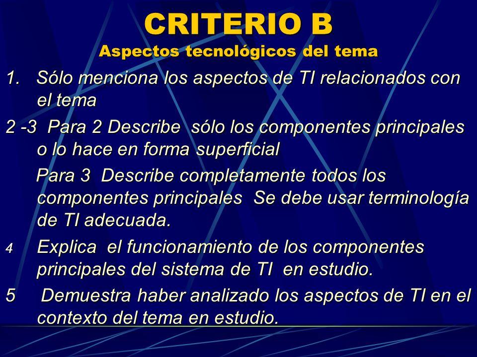 CRITERIO B Aspectos tecnológicos del tema 1. Sólo menciona los aspectos de TI relacionados con el tema 2 -3 Para 2 Describe sólo los componentes princ
