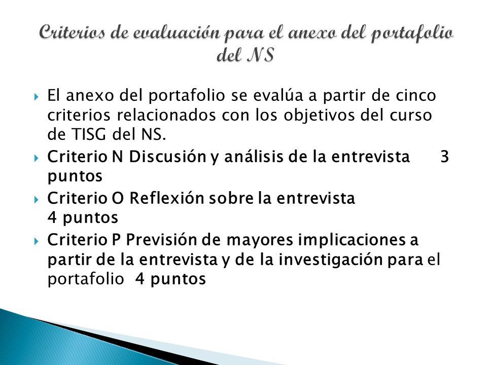 El anexo del portafolio se evalúa a partir de cinco criterios relacionados con los objetivos del curso de TISG del NS.