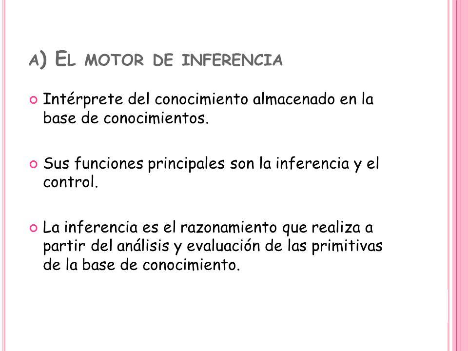 A ) E L MOTOR DE INFERENCIA Intérprete del conocimiento almacenado en la base de conocimientos. Sus funciones principales son la inferencia y el contr