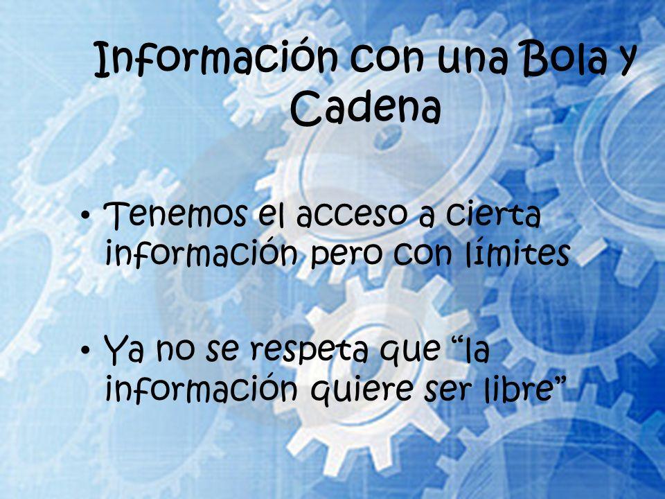 Información con una Bola y Cadena Tenemos el acceso a cierta información pero con límites Ya no se respeta que la información quiere ser libre