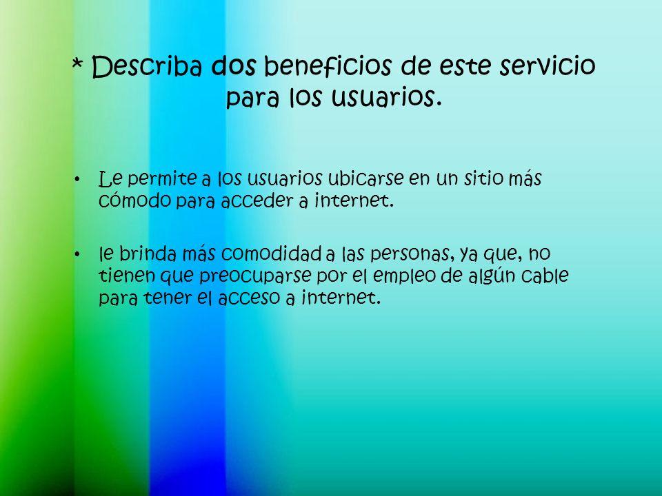 * Describa dos beneficios de este servicio para los usuarios.
