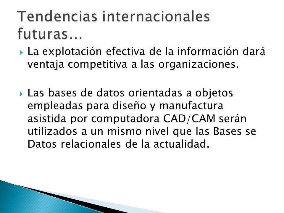 La explotación efectiva de la información dará ventaja competitiva a las organizaciones.