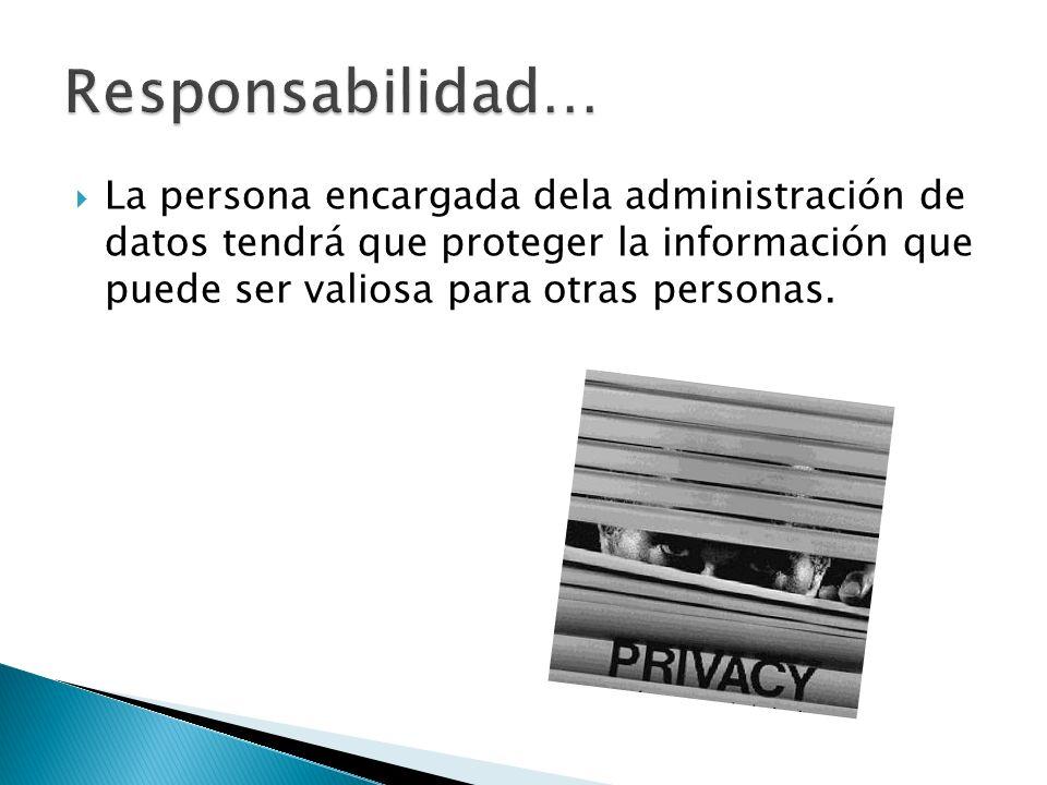 La persona encargada dela administración de datos tendrá que proteger la información que puede ser valiosa para otras personas.