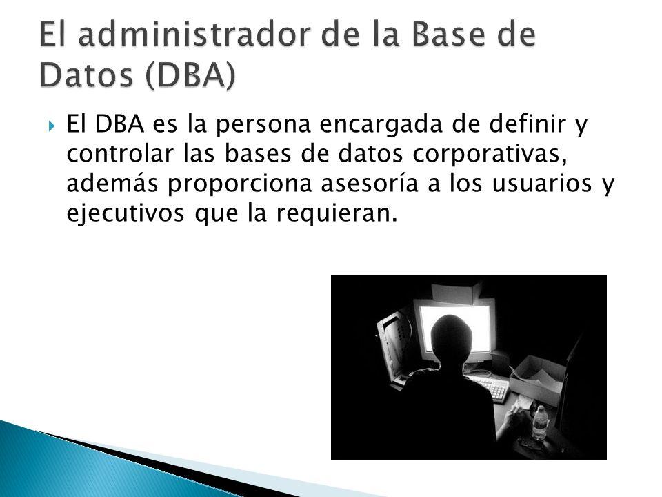 El DBA es la persona encargada de definir y controlar las bases de datos corporativas, además proporciona asesoría a los usuarios y ejecutivos que la requieran.