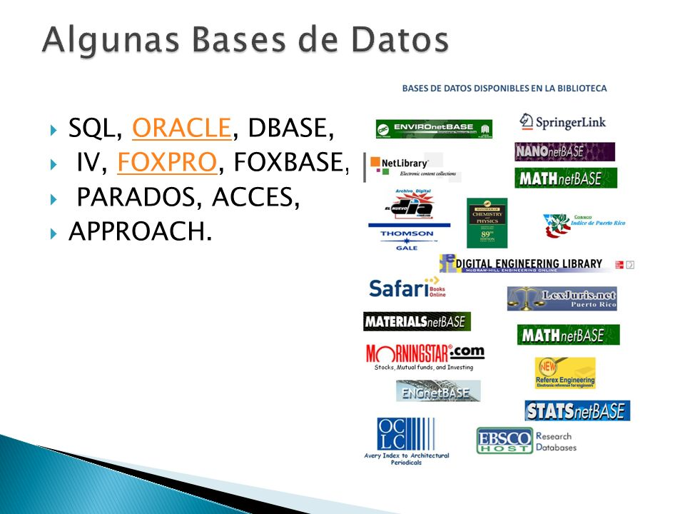 SQL, ORACLE, DBASE,ORACLE IV, FOXPRO, FOXBASE,FOXPRO PARADOS, ACCES, APPROACH.