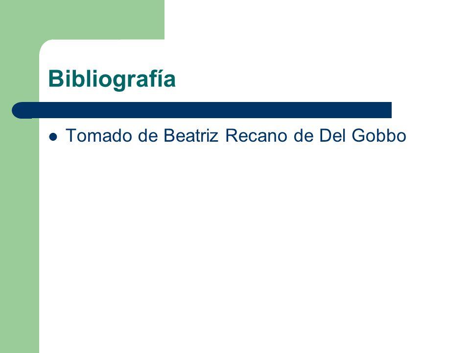 Bibliografía Tomado de Beatriz Recano de Del Gobbo