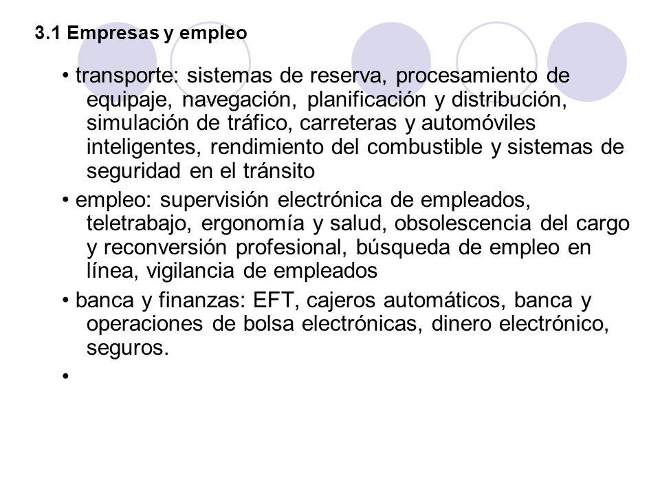 3.1 Empresas y empleo transporte: sistemas de reserva, procesamiento de equipaje, navegación, planificación y distribución, simulación de tráfico, car