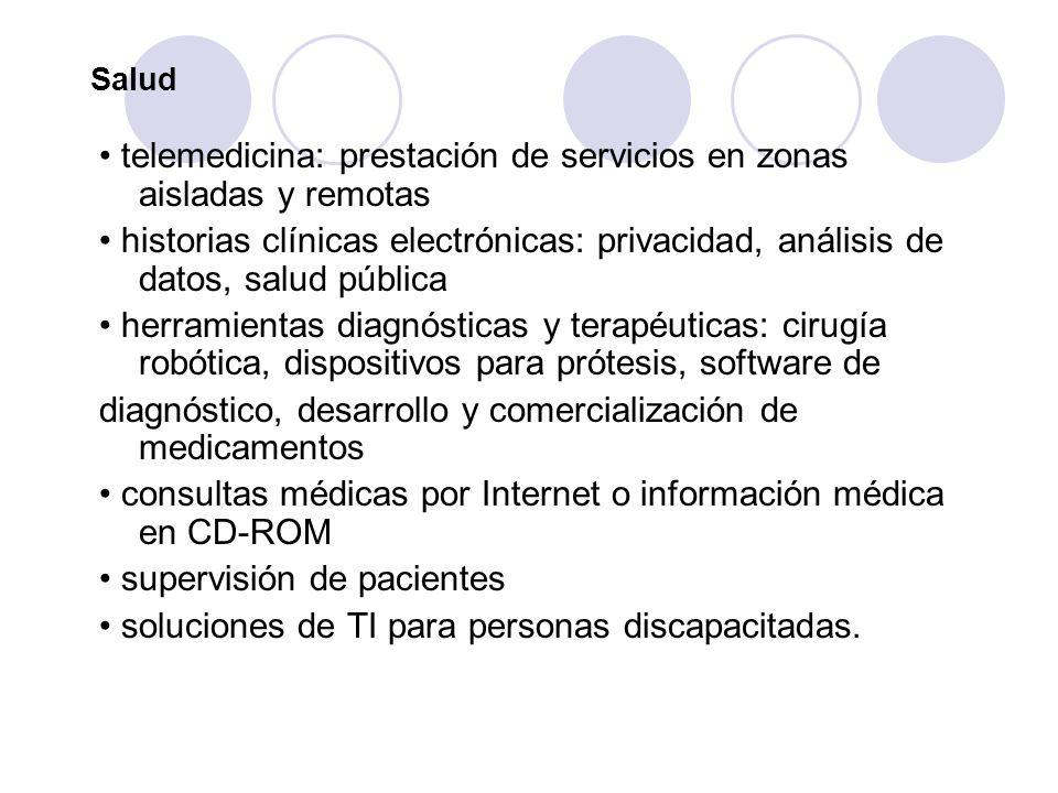 Salud telemedicina: prestación de servicios en zonas aisladas y remotas historias clínicas electrónicas: privacidad, análisis de datos, salud pública
