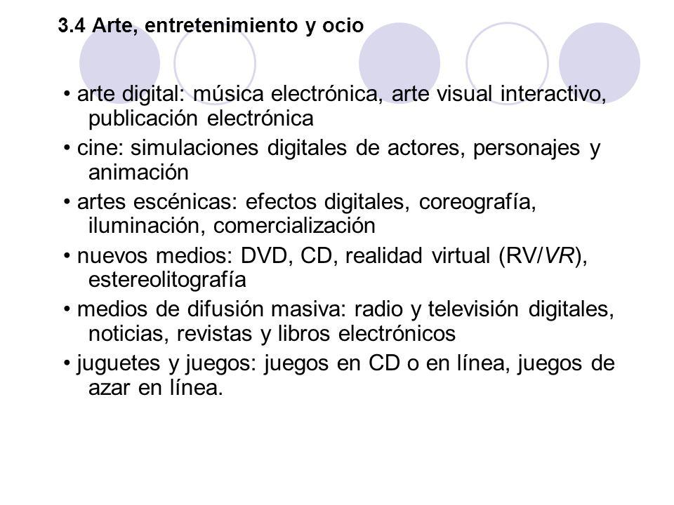 3.4 Arte, entretenimiento y ocio arte digital: música electrónica, arte visual interactivo, publicación electrónica cine: simulaciones digitales de ac