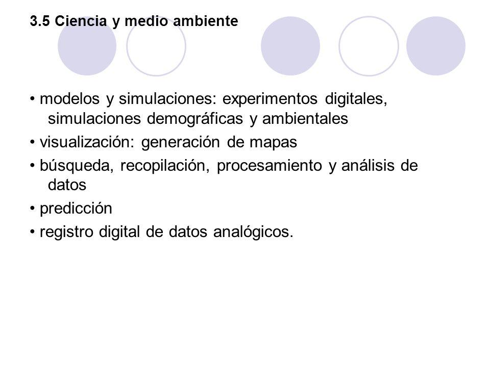 3.5 Ciencia y medio ambiente modelos y simulaciones: experimentos digitales, simulaciones demográficas y ambientales visualización: generación de mapa