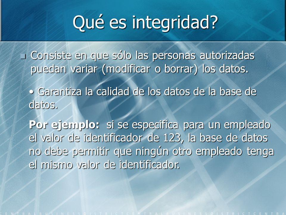 Qué es integridad? Consiste en que sólo las personas autorizadas puedan variar (modificar o borrar) los datos. Consiste en que sólo las personas autor