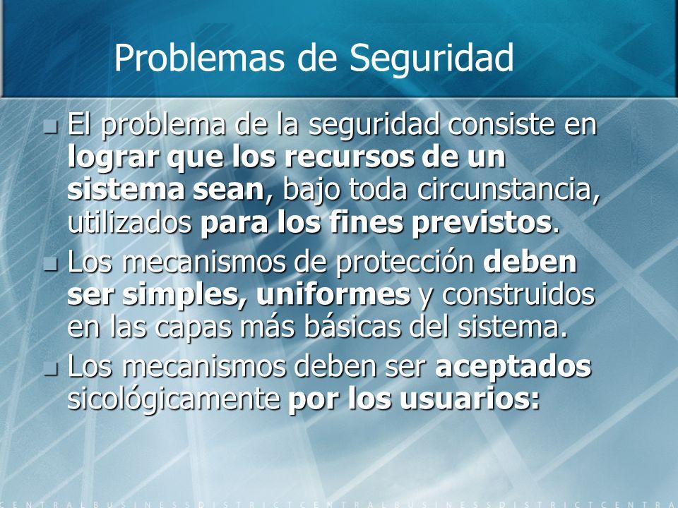 El problema de la seguridad consiste en lograr que los recursos de un sistema sean, bajo toda circunstancia, utilizados para los fines previstos. El p