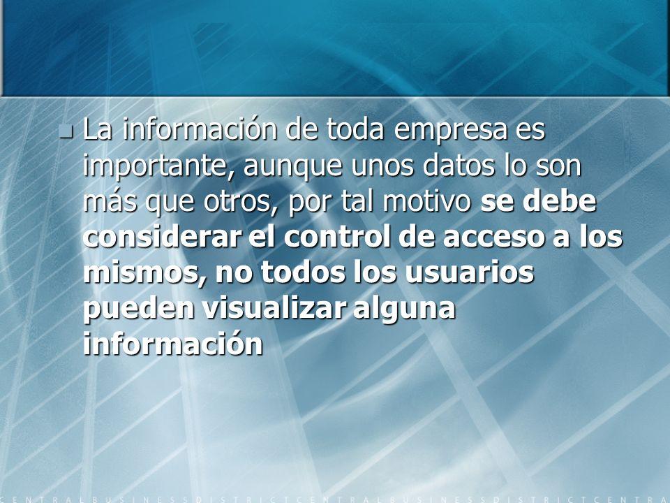 La información de toda empresa es importante, aunque unos datos lo son más que otros, por tal motivo se debe considerar el control de acceso a los mis