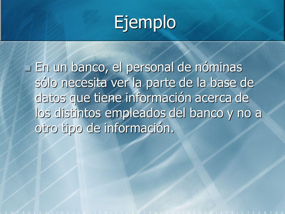 Ejemplo En un banco, el personal de nóminas sólo necesita ver la parte de la base de datos que tiene información acerca de los distintos empleados del