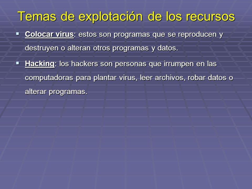 Temas de explotación de los recursos Colocar Colocar virus: virus: estos son programas que se reproducen y destruyen o alteran otros programas y datos