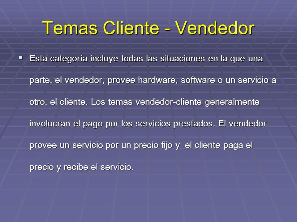 Temas Cliente - Vendedor Esta categoría incluye todas las situaciones en la que una parte, el vendedor, provee hardware, software o un servicio a otro, el cliente.