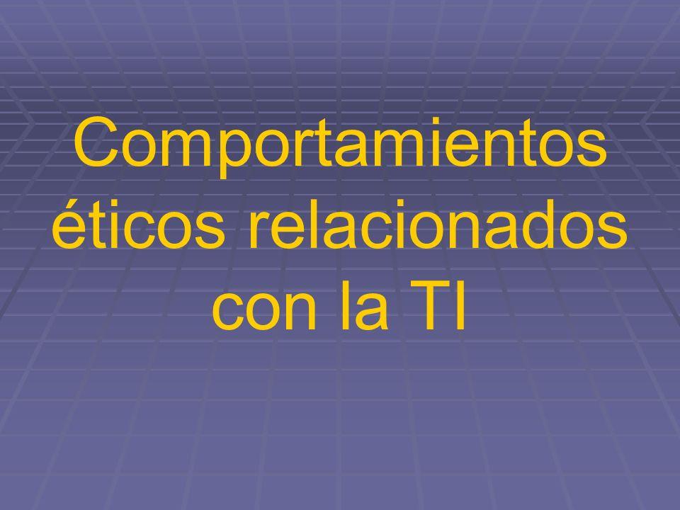 Comportamientos éticos relacionados con la TI