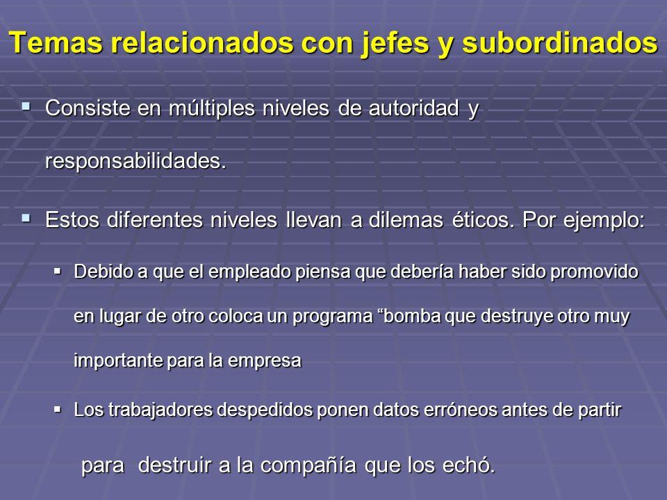 Temas relacionados con jefes y subordinados Consiste en múltiples niveles de autoridad y responsabilidades.