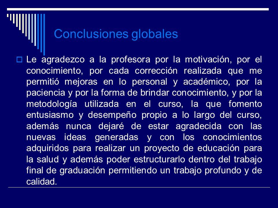 Conclusiones globales Le agradezco a la profesora por la motivación, por el conocimiento, por cada corrección realizada que me permitió mejoras en lo