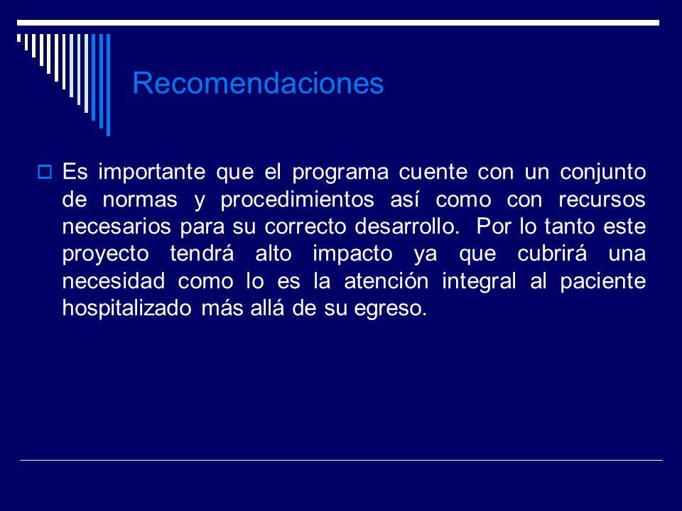 Recomendaciones Es importante que el programa cuente con un conjunto de normas y procedimientos así como con recursos necesarios para su correcto desa