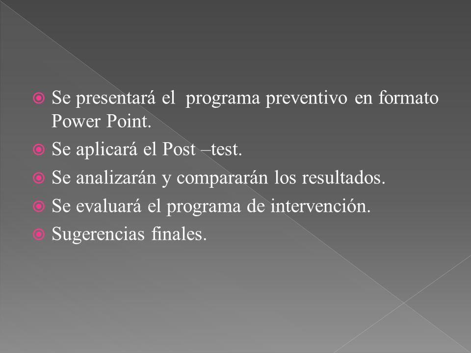 Se presentará el programa preventivo en formato Power Point. Se aplicará el Post –test. Se analizarán y compararán los resultados. Se evaluará el prog